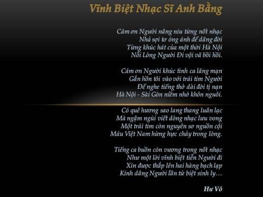 Vinh Biet Nhac Si Anh Bang
